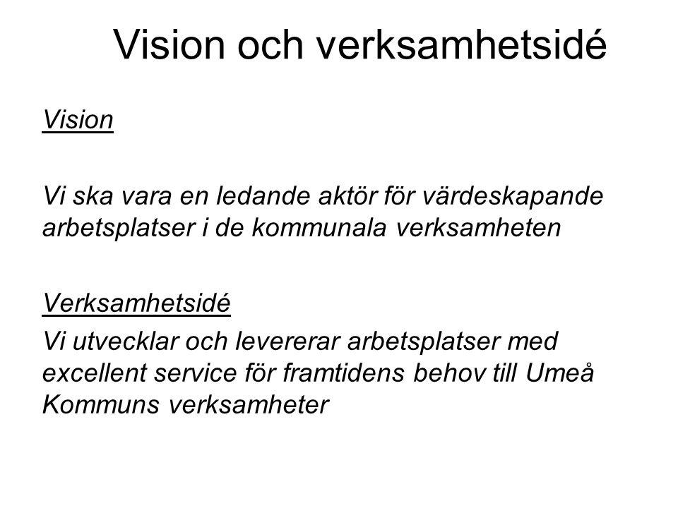 Vision och verksamhetsidé Vision Vi ska vara en ledande aktör för värdeskapande arbetsplatser i de kommunala verksamheten Verksamhetsidé Vi utvecklar