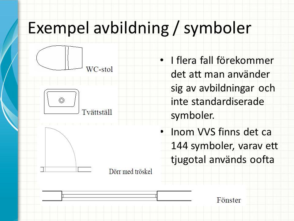 Exempel avbildning / symboler • I flera fall förekommer det att man använder sig av avbildningar och inte standardiserade symboler. • Inom VVS finns d