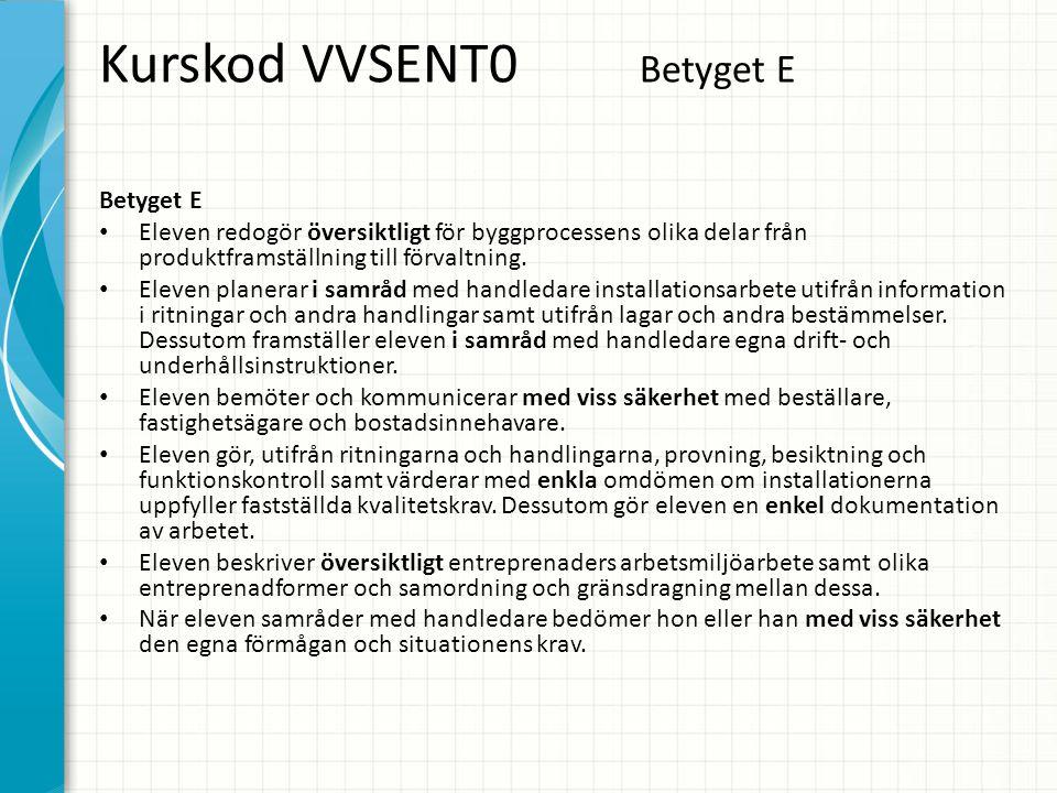 Kurskod VVSENT0 Betyget E Betyget E • Eleven redogör översiktligt för byggprocessens olika delar från produktframställning till förvaltning. • Eleven