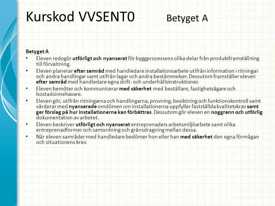 Kurskod VVSENT0 Betyget A Betyget A • Eleven redogör utförligt och nyanserat för byggprocessens olika delar från produktframställning till förvaltning.
