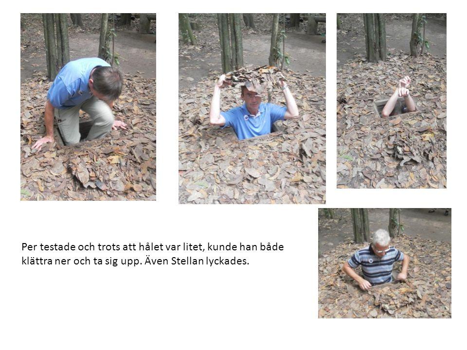 Per testade och trots att hålet var litet, kunde han både klättra ner och ta sig upp. Även Stellan lyckades.