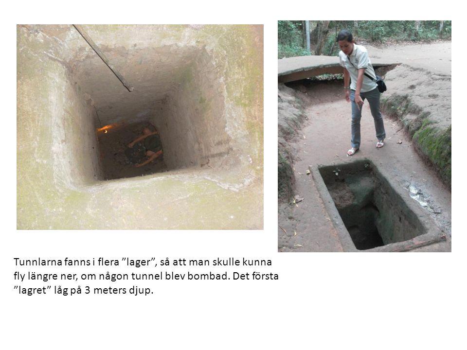 """Tunnlarna fanns i flera """"lager"""", så att man skulle kunna fly längre ner, om någon tunnel blev bombad. Det första """"lagret"""" låg på 3 meters djup."""