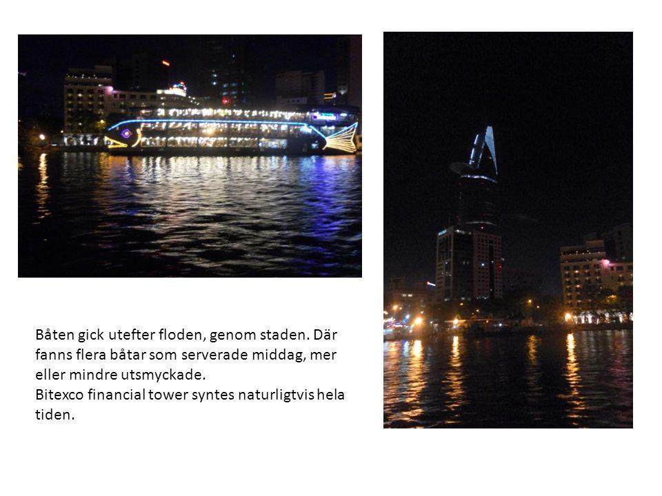 Båten gick utefter floden, genom staden. Där fanns flera båtar som serverade middag, mer eller mindre utsmyckade. Bitexco financial tower syntes natur