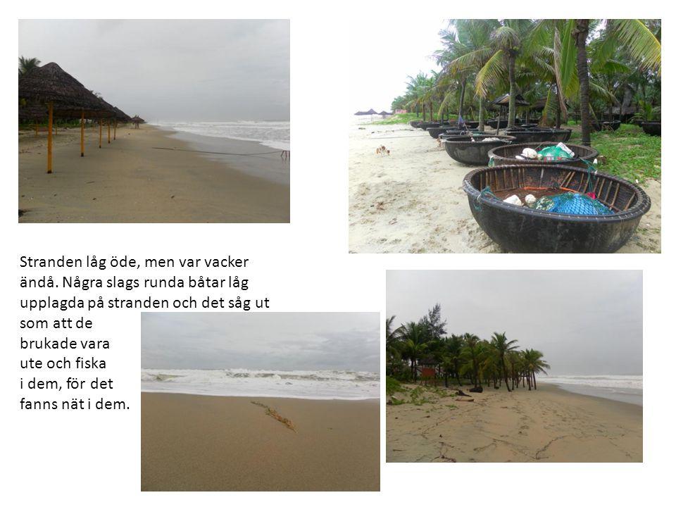 Stranden låg öde, men var vacker ändå. Några slags runda båtar låg upplagda på stranden och det såg ut som att de brukade vara ute och fiska i dem, fö