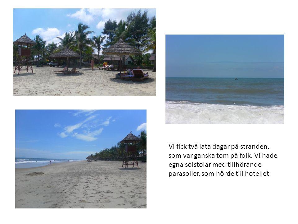 Vi fick två lata dagar på stranden, som var ganska tom på folk. Vi hade egna solstolar med tillhörande parasoller, som hörde till hotellet
