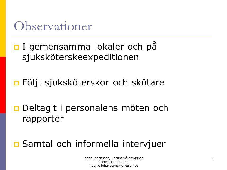 Inger Johansson, Forum vårdbyggnad Örebro,11 april 08.