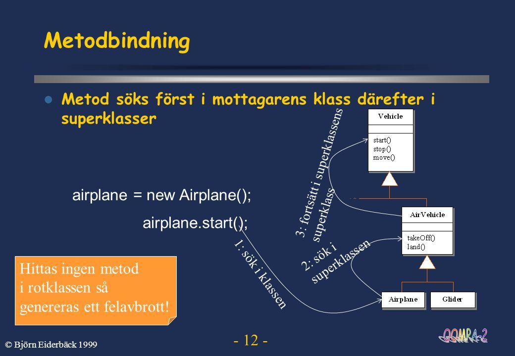 - 12 - © Björn Eiderbäck 1999 Metodbindning  Metod söks först i mottagarens klass därefter i superklasser airplane = new Airplane(); airplane.start()