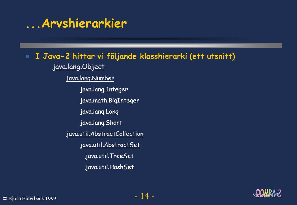 - 14 - © Björn Eiderbäck 1999...Arvshierarkier  I Java-2 hittar vi följande klasshierarki (ett utsnitt) java.lang.Object java.lang.Number java.lang.I