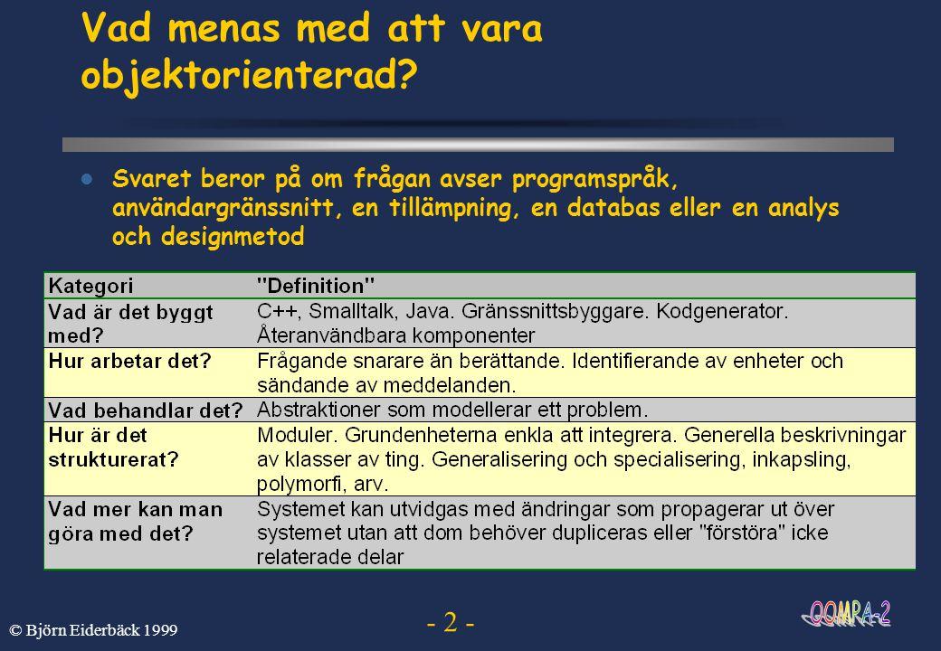 - 2 - © Björn Eiderbäck 1999 Vad menas med att vara objektorienterad?  Svaret beror på om frågan avser programspråk, användargränssnitt, en tillämpni