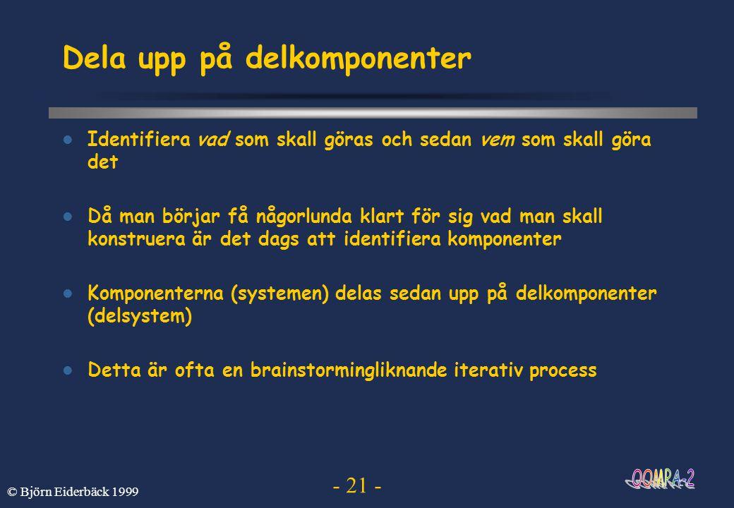 - 21 - © Björn Eiderbäck 1999 Dela upp på delkomponenter  Identifiera vad som skall göras och sedan vem som skall göra det  Då man börjar få någorlu