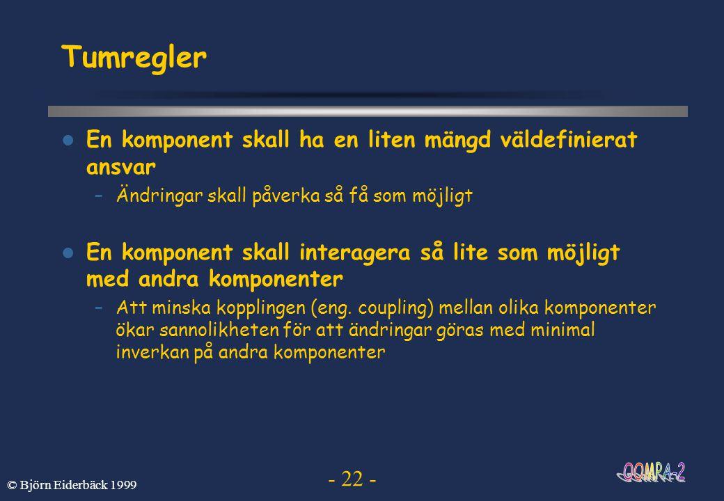 - 22 - © Björn Eiderbäck 1999 Tumregler  En komponent skall ha en liten mängd väldefinierat ansvar –Ändringar skall påverka så få som möjligt  En ko