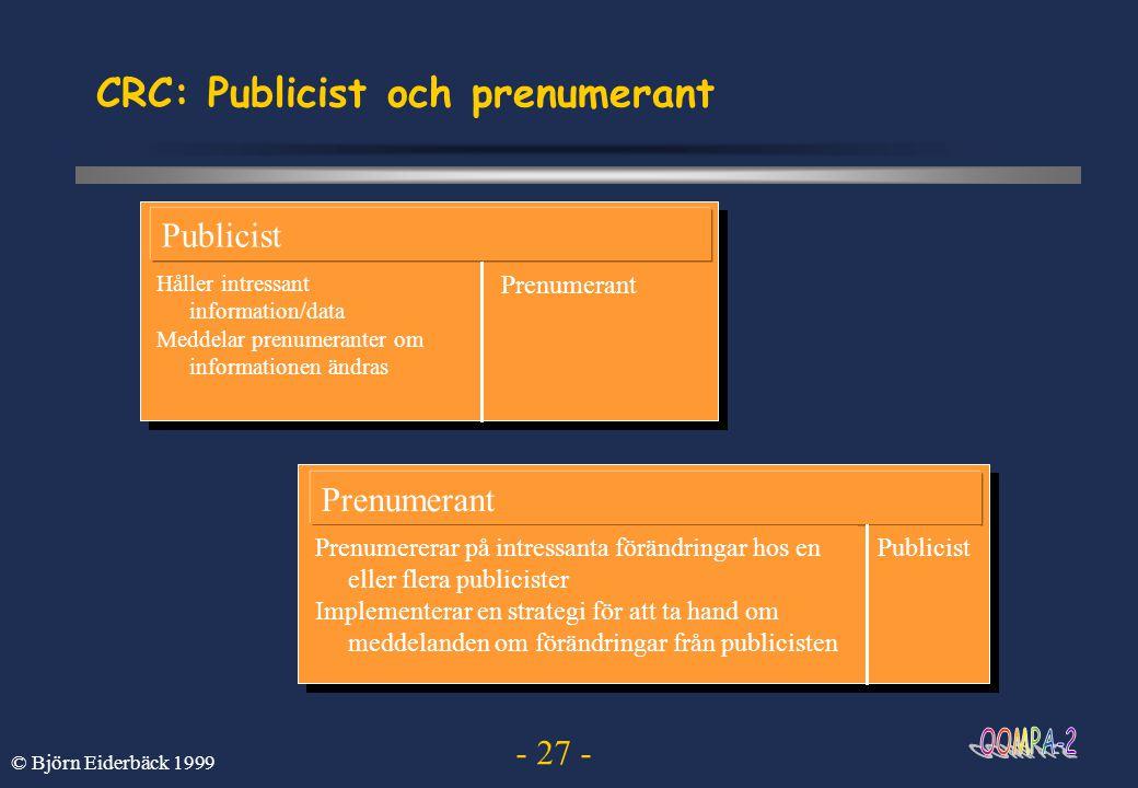 - 27 - © Björn Eiderbäck 1999 CRC: Publicist och prenumerant Publicist Håller intressant information/data Meddelar prenumeranter om informationen ändr
