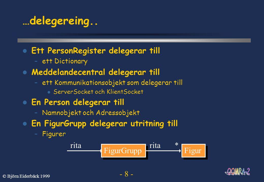 - 8 - © Björn Eiderbäck 1999 …delegereing..  Ett PersonRegister delegerar till –ett Dictionary  Meddelandecentral delegerar till –ett Kommunikations