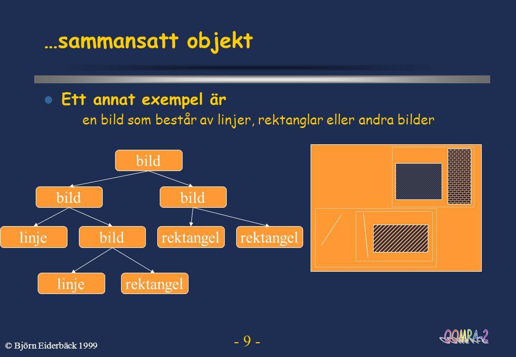 - 20 - © Björn Eiderbäck 1999 Sekvensdiagram  Scenarier brukar beskrivas med sekvensdiagram och andra interaktionsdiagram PellePiteåpostenUmeåpostenOlle posta sortera transportera sortera dela ut