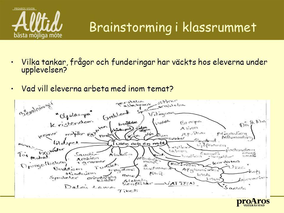 Brainstorming i klassrummet •Vilka tankar, frågor och funderingar har väckts hos eleverna under upplevelsen? •Vad vill eleverna arbeta med inom temat?