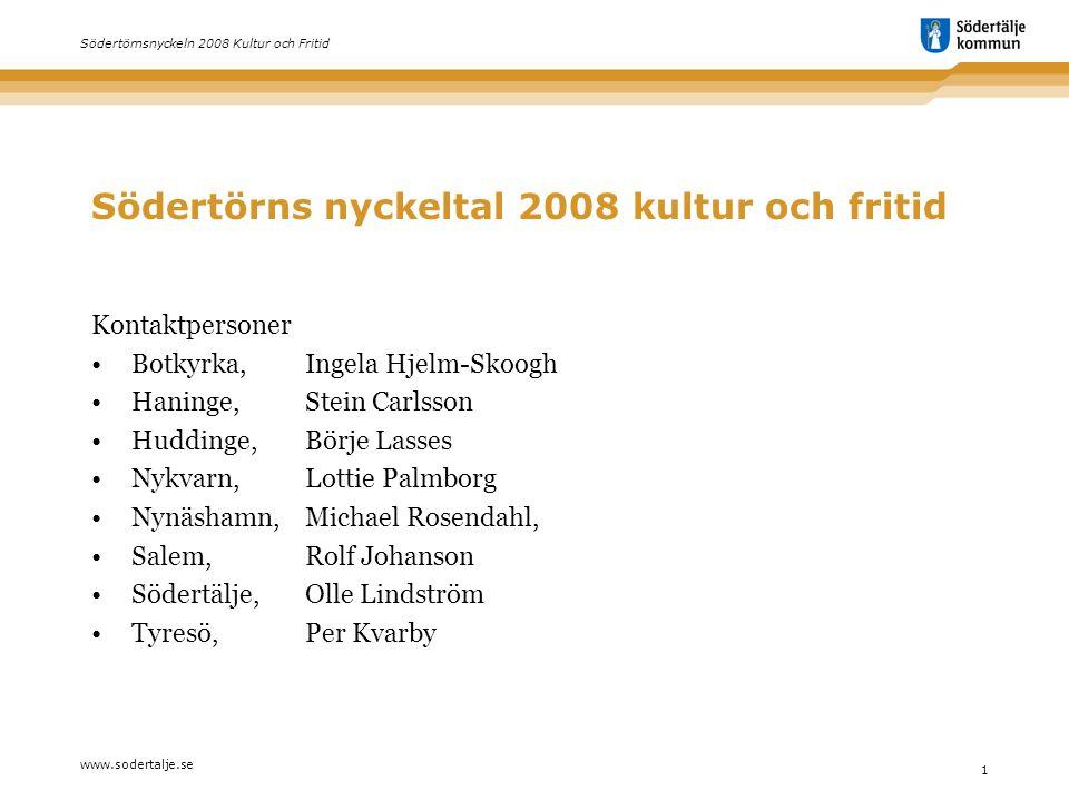 www.sodertalje.se 1 Södertörnsnyckeln 2008 Kultur och Fritid Södertörns nyckeltal 2008 kultur och fritid Kontaktpersoner •Botkyrka, Ingela Hjelm-Skoog