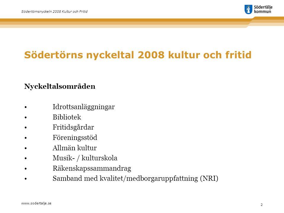 www.sodertalje.se 2 Södertörnsnyckeln 2008 Kultur och Fritid Södertörns nyckeltal 2008 kultur och fritid Nyckeltalsområden •Idrottsanläggningar •Bibli