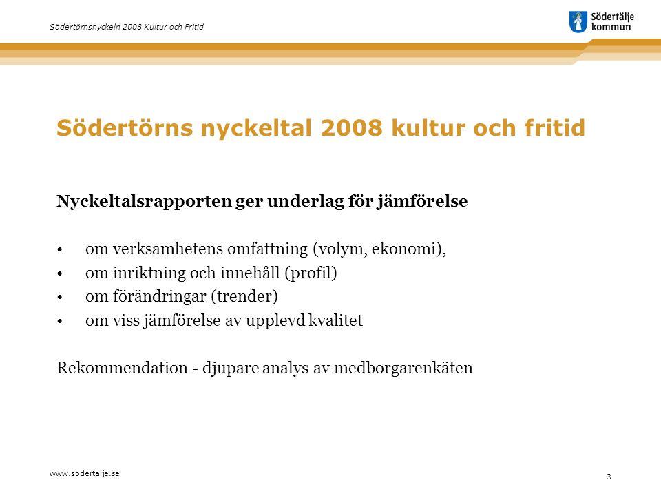 www.sodertalje.se 3 Södertörnsnyckeln 2008 Kultur och Fritid Södertörns nyckeltal 2008 kultur och fritid Nyckeltalsrapporten ger underlag för jämförel