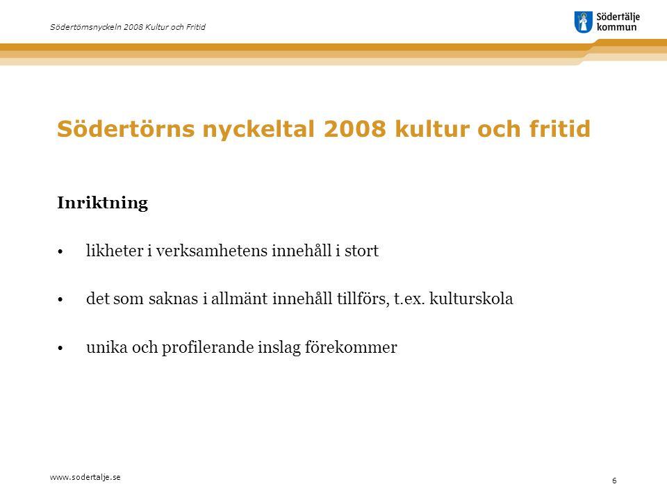 www.sodertalje.se 6 Södertörnsnyckeln 2008 Kultur och Fritid Södertörns nyckeltal 2008 kultur och fritid Inriktning • likheter i verksamhetens innehål