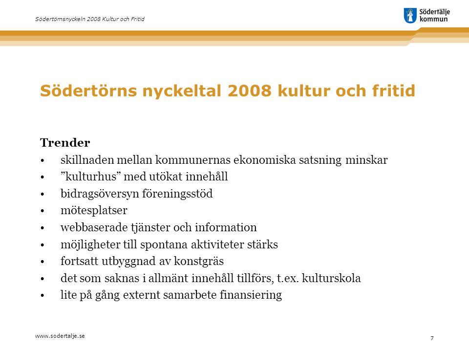 www.sodertalje.se 7 Södertörnsnyckeln 2008 Kultur och Fritid Södertörns nyckeltal 2008 kultur och fritid Trender • skillnaden mellan kommunernas ekono