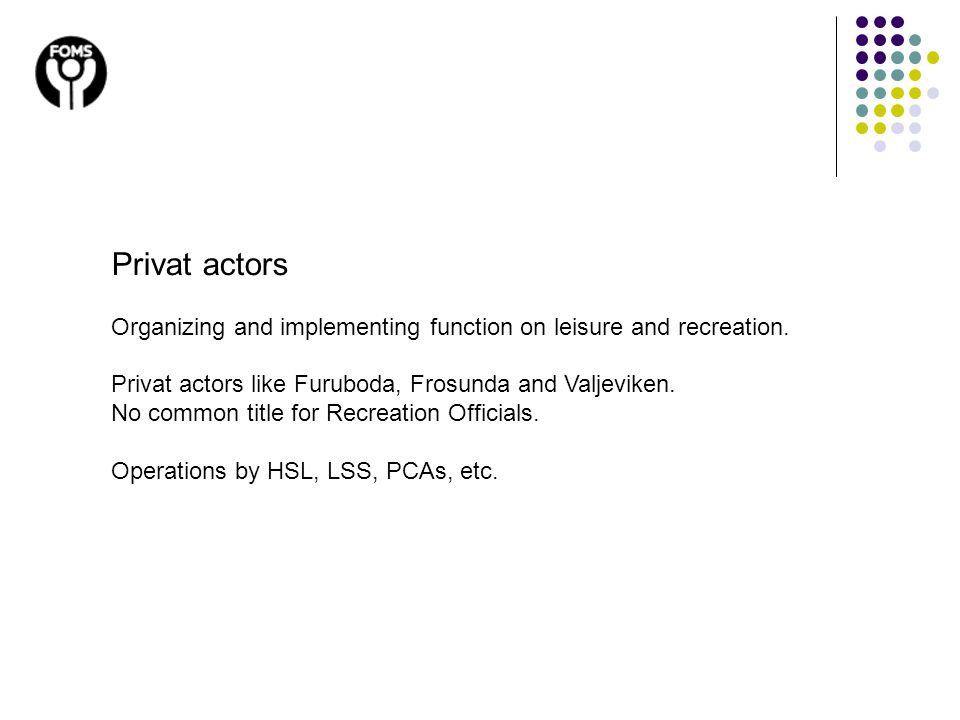 Privat actors Organizing and implementing function on leisure and recreation. Privat actors like Furuboda, Frosunda and Valjeviken. No common title fo