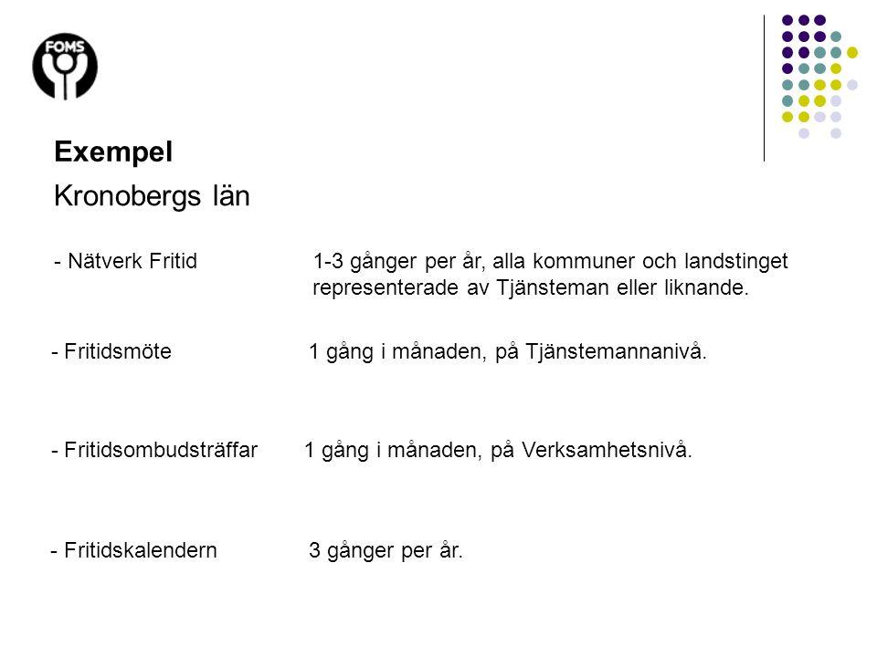 - Fritidsmöte1 gång i månaden, på Tjänstemannanivå. Exempel Kronobergs län - Nätverk Fritid1-3 gånger per år, alla kommuner och landstinget represente