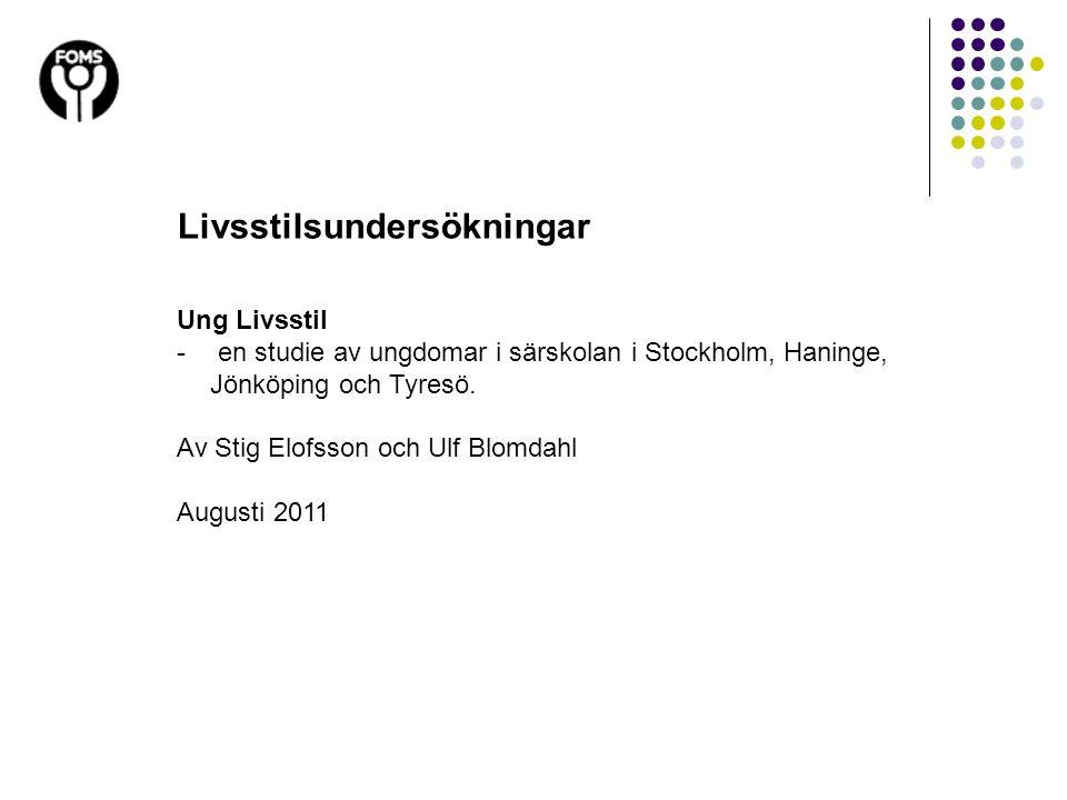 Livsstilsundersökningar Ung Livsstil - en studie av ungdomar i särskolan i Stockholm, Haninge, Jönköping och Tyresö. Av Stig Elofsson och Ulf Blomdahl