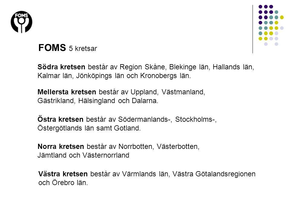 FOMS 5 kretsar Södra kretsen består av Region Skåne, Blekinge län, Hallands län, Kalmar län, Jönköpings län och Kronobergs län. Mellersta kretsen best
