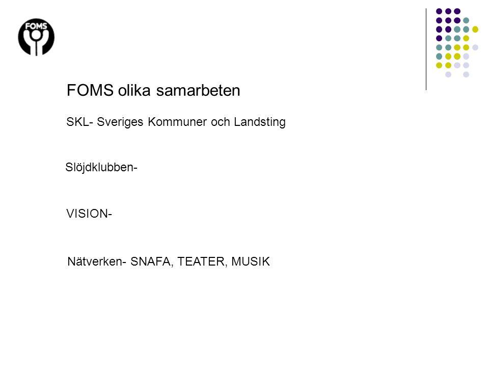 Nätverken- SNAFA, TEATER, MUSIK FOMS olika samarbeten SKL- Sveriges Kommuner och Landsting Slöjdklubben- VISION-