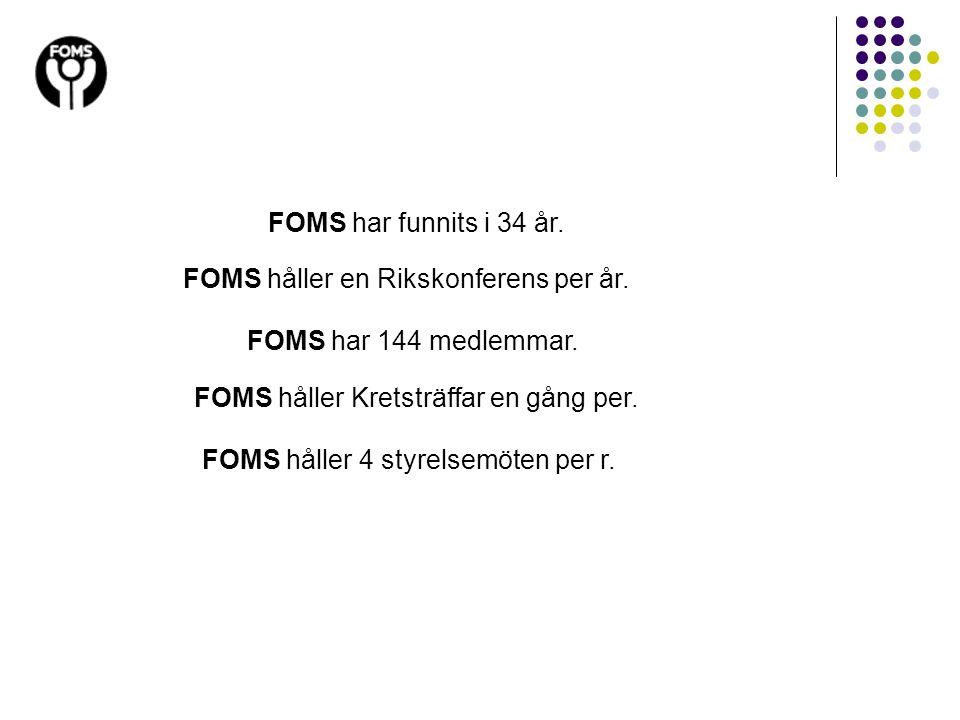 FOMS har funnits i 34 år. FOMS har 144 medlemmar. FOMS håller en Rikskonferens per år. FOMS håller Kretsträffar en gång per. FOMS håller 4 styrelsemöt
