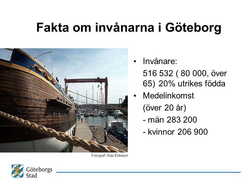 Fakta om invånarna i Göteborg • Invånare: 516 532 ( 80 000, över 65)20% utrikes födda • Medelinkomst (över 20 år) - män 283 200 - kvinnor 206 900 Foto