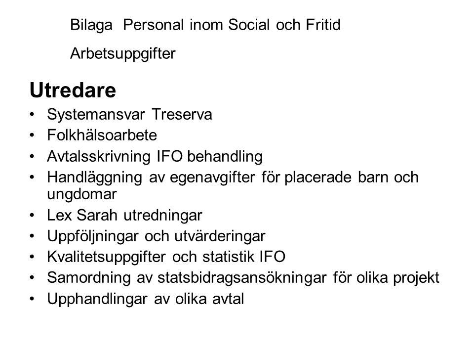Bilaga Personal inom Social och Fritid Arbetsuppgifter Utredare •Systemansvar Treserva •Folkhälsoarbete •Avtalsskrivning IFO behandling •Handläggning