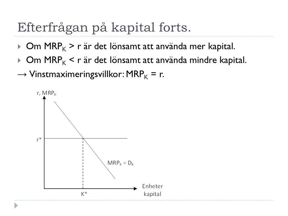 Efterfrågan på kapital forts.  Om MRP K > r är det lönsamt att använda mer kapital.  Om MRP K < r är det lönsamt att använda mindre kapital. → Vinst