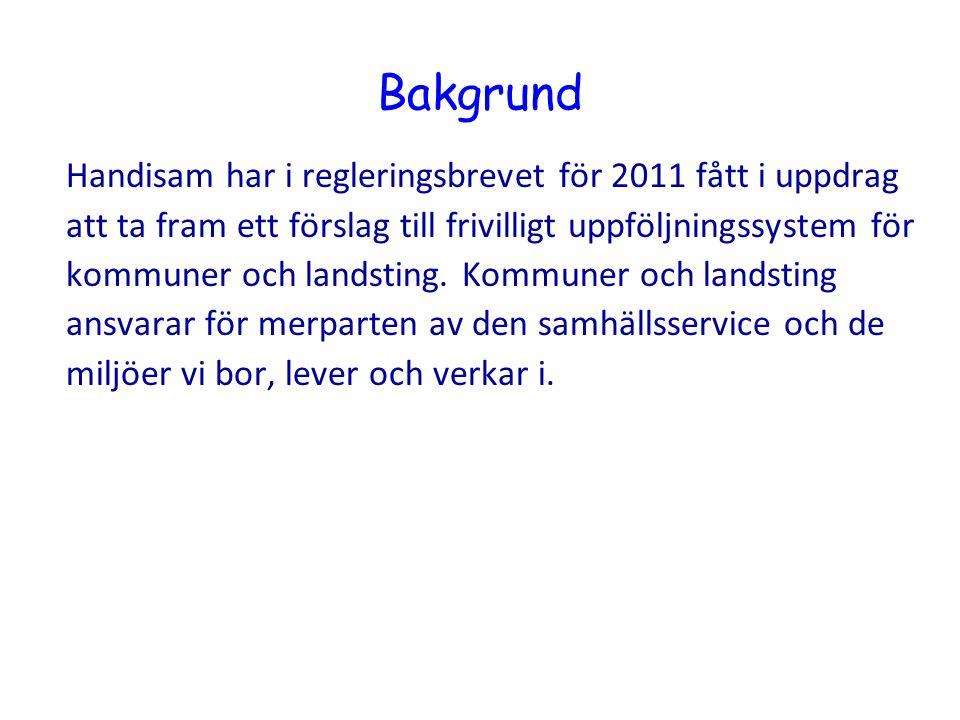 Bakgrund Handisam har i regleringsbrevet för 2011 fått i uppdrag att ta fram ett förslag till frivilligt uppföljningssystem för kommuner och landsting