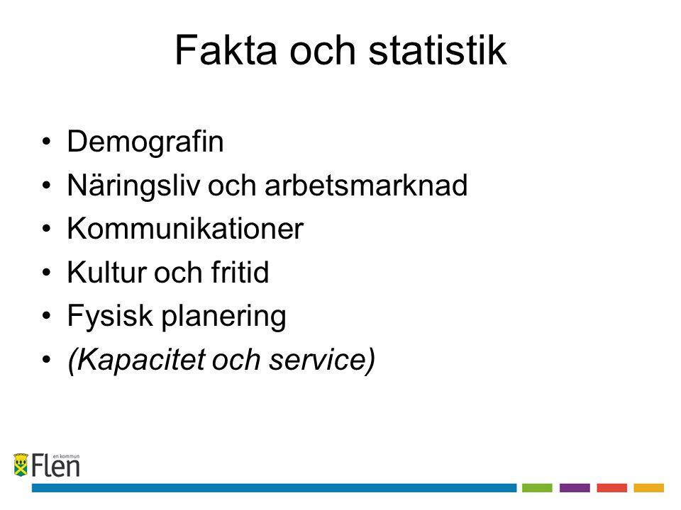 Fakta och statistik •Demografin •Näringsliv och arbetsmarknad •Kommunikationer •Kultur och fritid •Fysisk planering •(Kapacitet och service)
