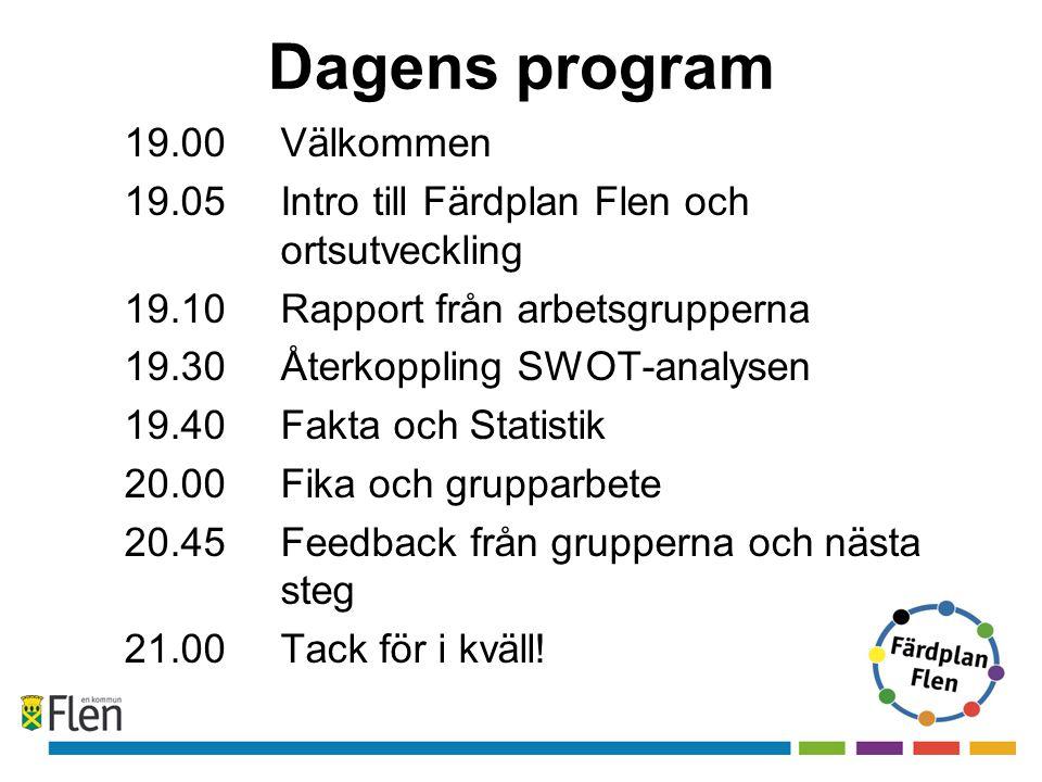 Dagens program 19.00 Välkommen 19.05 Intro till Färdplan Flen och ortsutveckling 19.10Rapport från arbetsgrupperna 19.30Återkoppling SWOT-analysen 19.