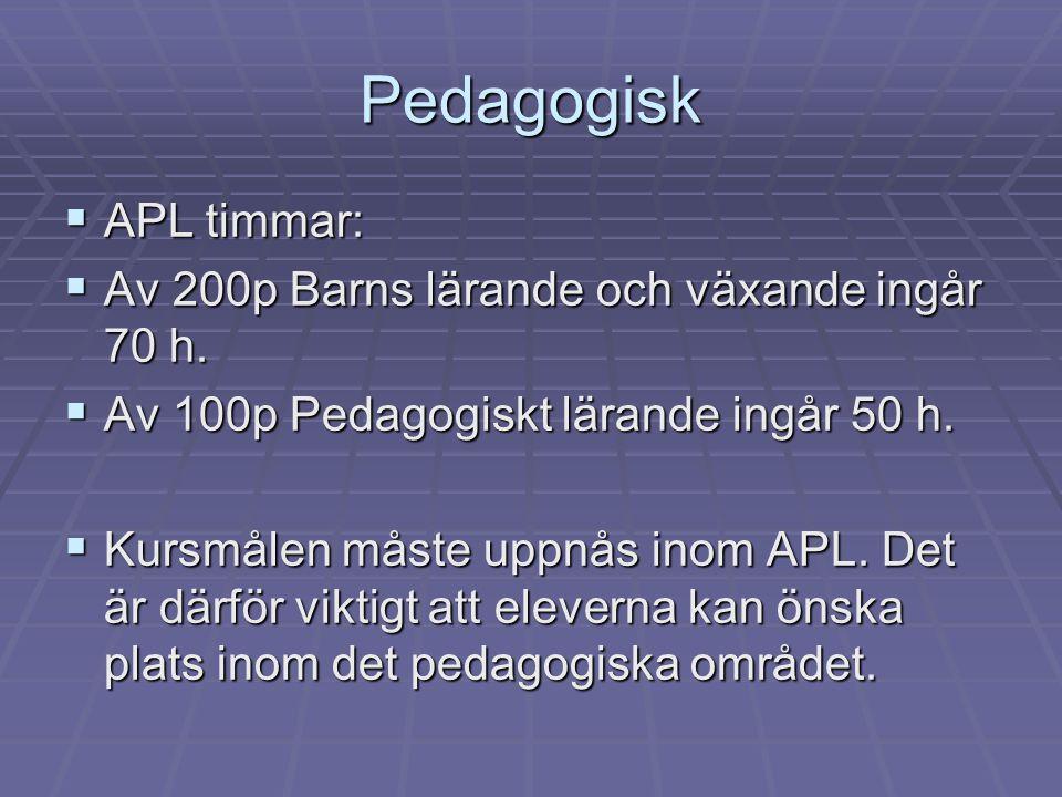 Pedagogisk  APL timmar:  Av 200p Barns lärande och växande ingår 70 h.  Av 100p Pedagogiskt lärande ingår 50 h.  Kursmålen måste uppnås inom APL.