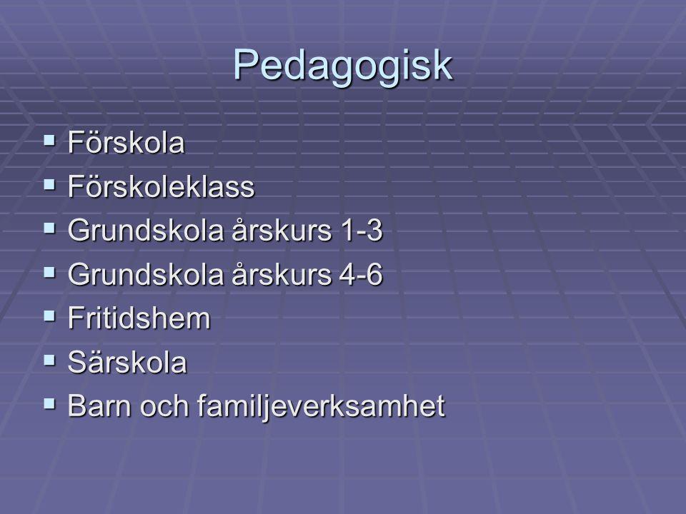 Pedagogisk  Förskola  Förskoleklass  Grundskola årskurs 1-3  Grundskola årskurs 4-6  Fritidshem  Särskola  Barn och familjeverksamhet