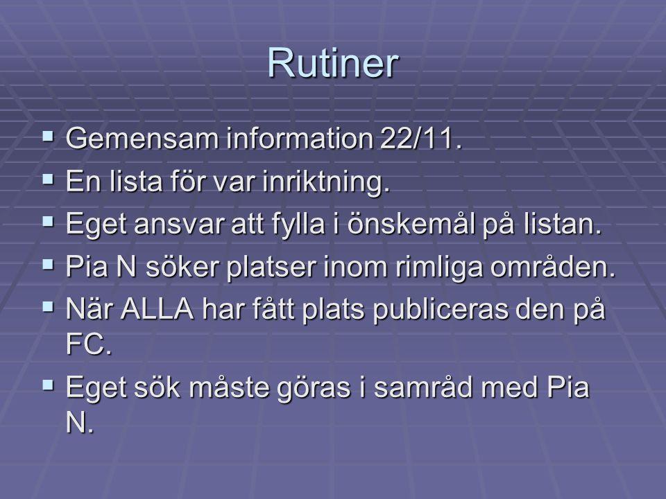 Rutiner  Gemensam information 22/11.  En lista för var inriktning.  Eget ansvar att fylla i önskemål på listan.  Pia N söker platser inom rimliga