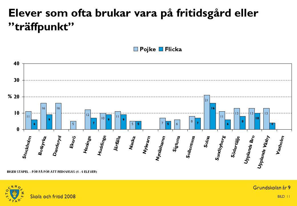 """Grundskolan år 9 Skola och fritid 2008 BILD 11 Elever som ofta brukar vara på fritidsgård eller """"träffpunkt"""""""