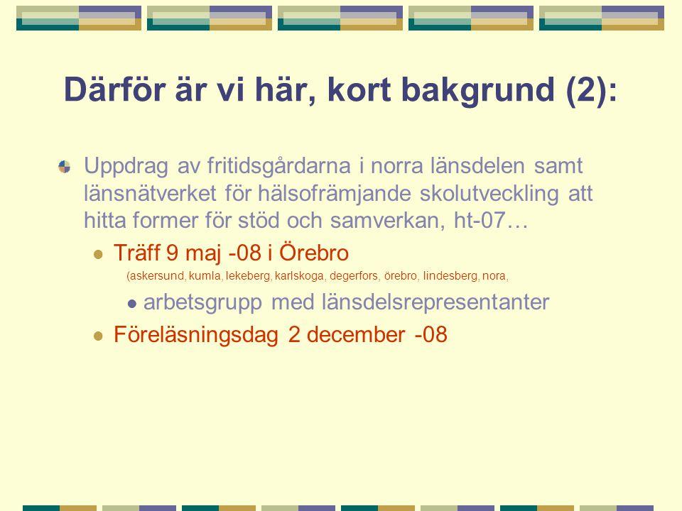 Därför är vi här, kort bakgrund (2): Uppdrag av fritidsgårdarna i norra länsdelen samt länsnätverket för hälsofrämjande skolutveckling att hitta former för stöd och samverkan, ht-07…  Träff 9 maj -08 i Örebro (askersund, kumla, lekeberg, karlskoga, degerfors, örebro, lindesberg, nora,  arbetsgrupp med länsdelsrepresentanter  Föreläsningsdag 2 december -08