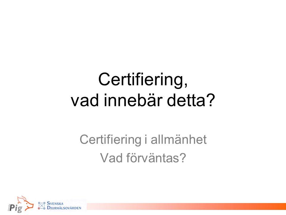 Certifiering, vad innebär detta? Certifiering i allmänhet Vad förväntas?