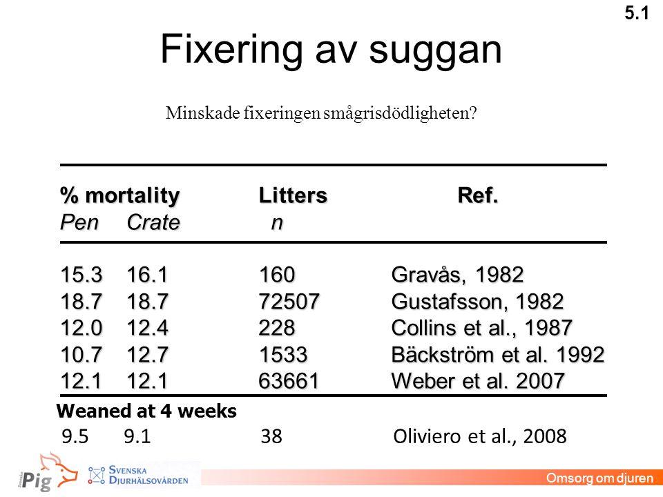 Fixering av suggan 5.1 % mortalityLittersRef. PenCrate n 15.316.1160Gravås, 1982 18.718.772507Gustafsson, 1982 12.012.4228Collins et al., 1987 10.712.