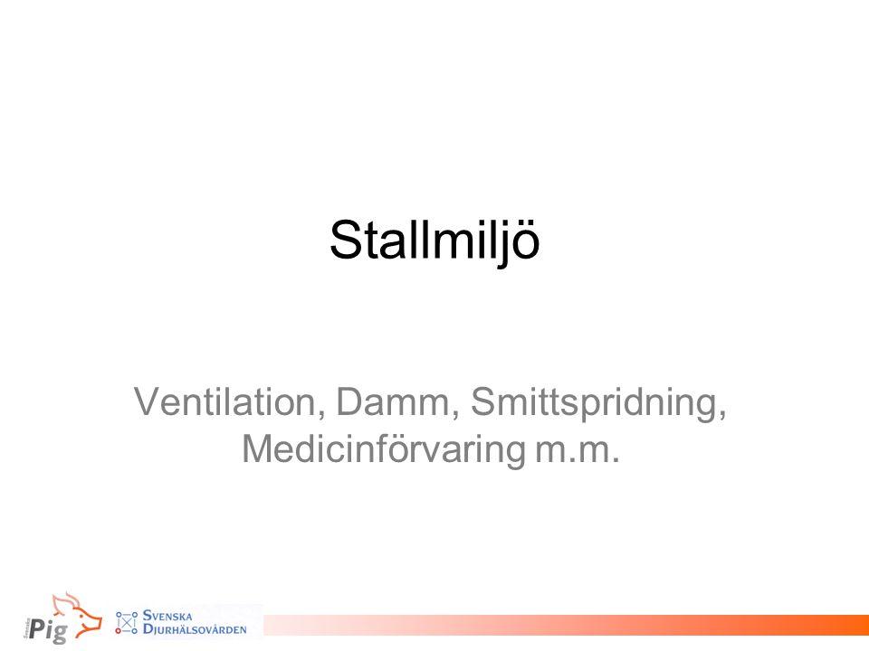 Stallmiljö Ventilation, Damm, Smittspridning, Medicinförvaring m.m.
