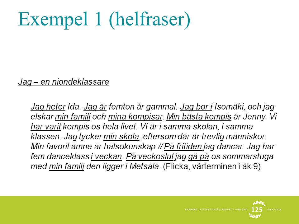 Exempel 1 (helfraser) Jag – en niondeklassare Jag heter Ida. Jag är femton år gammal. Jag bor i Isomäki, och jag elskar min familj och mina kompisar.