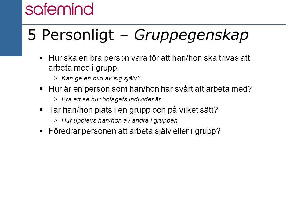 13 2004 5 Personligt – Gruppegenskap  Hur ska en bra person vara för att han/hon ska trivas att arbeta med i grupp. >Kan ge en bild av sig själv?  H