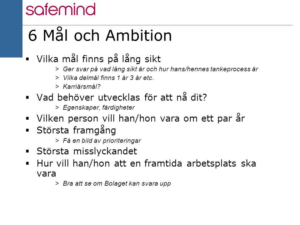 14 2004 6 Mål och Ambition  Vilka mål finns på lång sikt >Ger svar på vad lång sikt är och hur hans/hennes tankeprocess är >Vilka delmål finns 1 år 3 år etc.