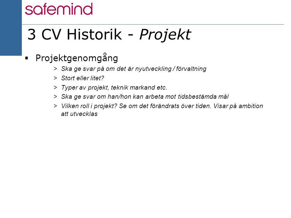 8 2004 3 CV Historik - Projekt  Projektgenomgång >Ska ge svar på om det är nyutveckling / förvaltning >Stort eller litet? >Typer av projekt, teknik m