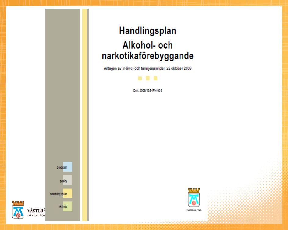 Alkohol och narkotikaförebyggande handlingsplan Justerad 2009-09-28 1.Främjande – samhällsnivå 2.Främjande – gruppnivå 3.Främjande – individnivå 4.Förebyggande – samhällsnivå 5.Förebyggande – gruppnivå 6.Förebyggande – individnivå 7.Uppföljning – utvärdering 8.Analys