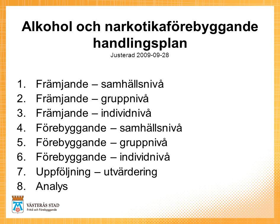 Alkohol och narkotikaförebyggande handlingsplan Justerad 2009-09-28 1.Främjande – samhällsnivå 2.Främjande – gruppnivå 3.Främjande – individnivå 4.För